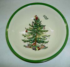 "SPODE Christmas Tree Green Trim 6.25"" Cereal Oatmeal Fruit Dessert Bowl $32 NWT"
