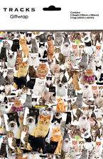 Cat Lovers Gift Wrap Wrapping Paper Birthday 2 Sheets Tags Ginger Tabby Black