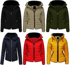 New Girls Womens Quilted Puffer  Padded Jacket Fur Collar  Warm Coat