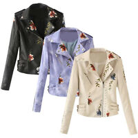 Fashion Women Leather Jackets Floral Embroidery Motorcycle Outerwear Coat Jacket