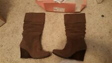 "Size 10 So Brand Scarlett and Taupe 17"" Tall Boot, NIB"