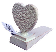 Rustic Shabby White Cast Love Heart ~ Door Stop ~ Stopper ~ Home Decor
