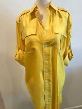 Ralph Lauren Black Label Silk Shirt Dress 4 NWT Yellow Womens