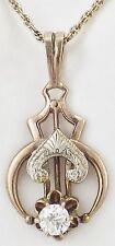 Vintage Art Deco 14K Yellow Gold Diamond Fancy Design Necklace