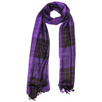 Violet Black Plaid Checkered Design Rectangle Women's Hijab Scarf with Tassles