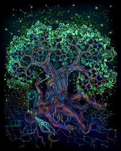 TAPESTRY UV blacklight backdrop psychedelic decor spiritual art trippy artwork