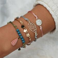 4Pcs/set Women's Beads Fringe Heart Bracelet Vintage Round Charm Bangles Jewelry