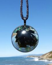BLACK TOURMALINE and Amazonite Positive Energy Orgone Dome Pendant with Silver.
