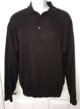Jhane Barnes Sz LARGE Shirt L/S Wool Nylon Blend Maroon Polo Sweater