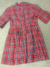 VINTAGE GIRLS CHILDS DRESS RED BLUE PLAID BUTTONS