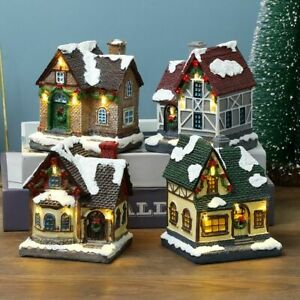 Figurines Kids Gift Scene Village Houses Christmas Ornament Town Decoration
