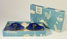 "2 Illums Boligus Meka 1950 Blue Enamel & Copper 2"" Candle Holders Box Denmark #2"