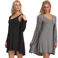 Felina Tank Chemise & Wrap 2-Piece Set Chemise Wrap Set Black Gray S M