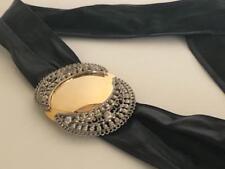 Vintage 1980s Black Leather Belt Huge Gold Silver filagree Buckle Maureen Elaine