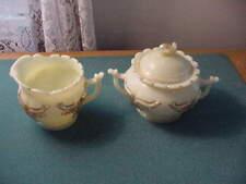 Heisey Winged Scroll Custard Glass Sugar Bowl and Creamer