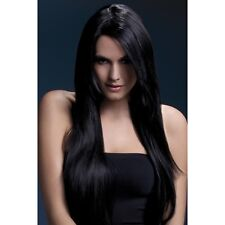 Women's Fever Amber Black Long Straight Professional Model Wig Fancy Dress
