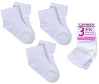 Girls Socks 3 Pairs Cotton Rich White School Socks UK Sizes 6-8.5 9-12 12.5-3.5