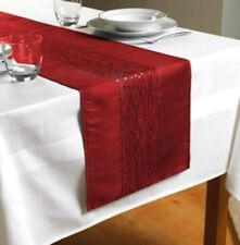 "Red Embroidered Taffeta Table Runner 90"" x 13""  (230cms x 33cms)"