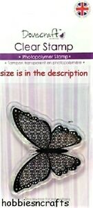 SPIRAL BUTTERFLY Dovecraft Small Clear Cling Stamps - DCCS020 - Ornate Insect