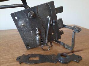 Antique Iron Door Lock & Handle, Salvage Antique, Antique Door Handle,Reclaimed
