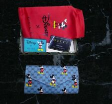 New listing gucci mickey mouse blue wallet credit cards holder disney