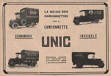Publicité de Presse CAMIONNETTE UNIC  1927