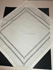 Victorian Antique White Table Cloth/ Topper Square-25 inches