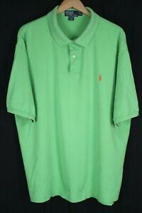 Polo Ralph Lauren Mens sz 2XLT Tall Green Soft Cotton S/S Shirt Orange Pony