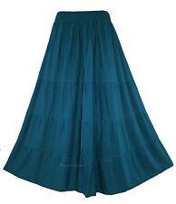 Teal blue Women BOHO Hippy Long Maxi Tiered Skirt 22 3X