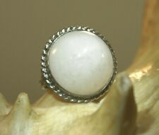 Dome Natural White Jade Ring 6 #2 Vintage Ming'S Solid 925 Silver Round Pointed