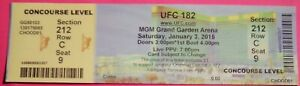 UFC ULTIMATE FIGHTING UFC 182 ORIGINAL USED TICKET MGM LAS VEGAS, JAN 3 2015