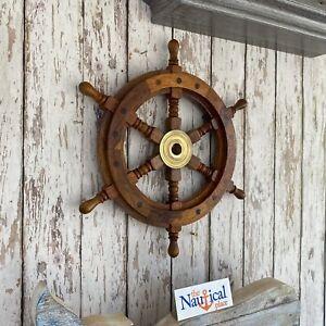 "12"" Wood Ship Wheel ~ Nautical Themed Wall Decor ~ Small Wooden Captain Helm"