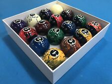 "New Black Marble Swirl Pool Table / Billiard Balls Set 2 1/4"" Reg Size & weight"