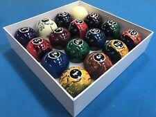 "New Black Marble Swirl Pool Table / Billiard Balls Set 2 1/4"" Reg Size & weight"