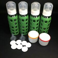 Lifefactory 9oz Glass Baby Bottles Sleeves Caps Rings Stoppers Nipples Container
