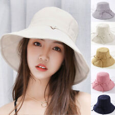 8c6f9a7cb39 Women Girls Holiday Bucket Hat Casual Fashion Sun Hat UV Protection Plain  Cotton