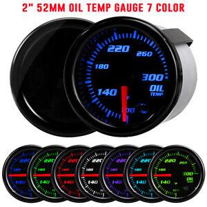 "2"" Oil Temp Gauge 7 Color Tinted 52mm Temperature Meter 100-300℉ 1/8"" NPT Sensor"