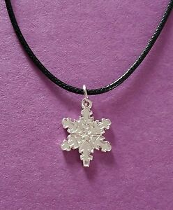 Silver Tone Snowflake Pendant on a Black Cord Necklace - New
