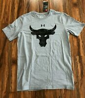 Under Armour Project Rock Brahma Bull T Shirt Grey 1344923-035 Men's Size Small