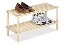 Natural Wood Household Shelves 2 Tier Shoe Rack Organizer Storage Wall Stand New