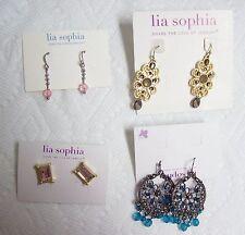 Lot of 4 Pairs LIA SOPHIA Earrings - on cards