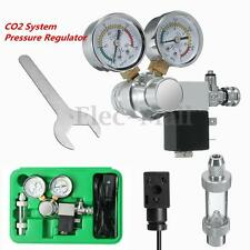 UK Aquarium Dual Gauge CO2 System Pressure Regulator w/ Bubble Counter Solenoid
