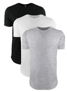 Mens Mans BLACK GREY or WHITE Extra Long Length Cotton Tee Next Level T-Shirt