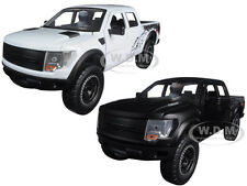 2011 FORD F-150 SVT RAPTOR MATT BLACK & WHITE 2 TRUCKS SET 1/24 JADA 96867 SET