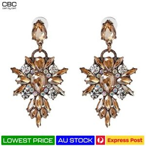 Chandelier Earrings Large Statement Gold Clear Crystal Wreath Marquise Cocktail