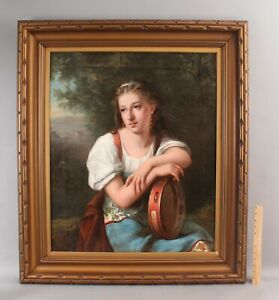 Large 1877 Antique 19thC Italian Oil Painting, Orientalist Woman w/ Tambourine