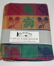 "Casual Park Manor Tablecloth ~ Fall Fruits Checks ~ 60"" x 84"" Rectangular**NEW**"