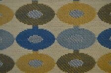 3 yds Beige Blue And Gold Round Tapestry Upholstery Fabric txed