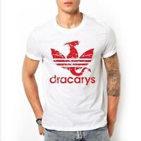 New Men Dracarys Dragon Shirt Mother of Dragons Letter Short Sleeve T-Shirt