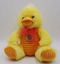 Plush Duck Chick Yellow w/ Orange Beak Chest Feet 10.5 in Sitting Stuffed Easter